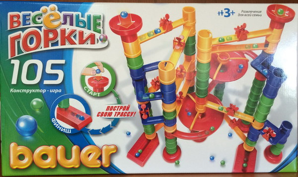 Горка-конструктор Bauer Весёлые горки 105 элемента ( в коробке) - фото товара