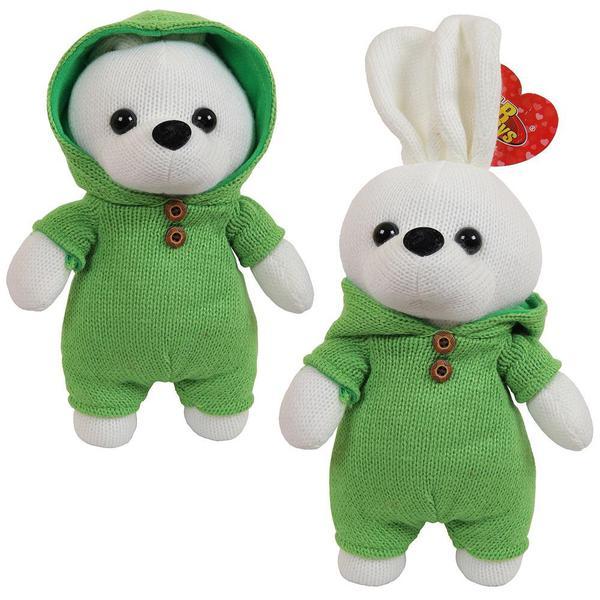 Knitted. Зайка вязаный, 22 см. в зеленом костюмчике - фото товара