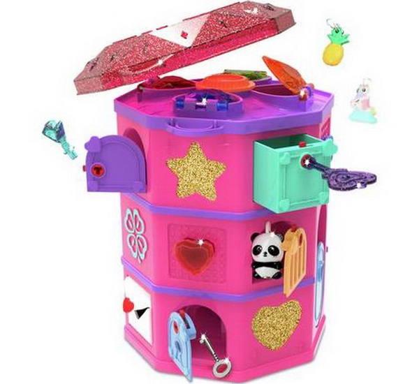 Фото товара Волшебная шкатулка с секретами Funlockets. Башня с сокровищами 19,5х14,5х14,5 см., 32 сюрприза. Подберите ключики к дверцам и найдите секреты и подвес